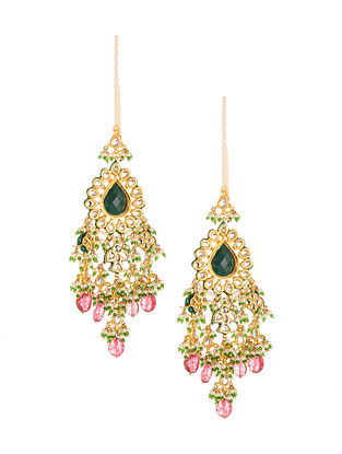 Green Pink Gold Plated Kundan Earrings with Pearls