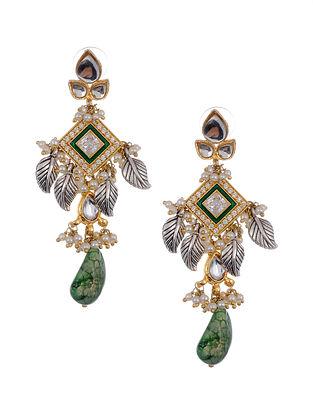 Green Dual Tone Kundan Beaded Earrings