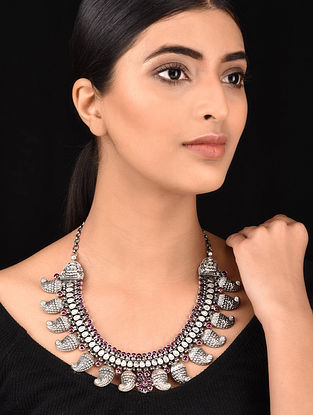 Maroon Tribal Silver Necklace