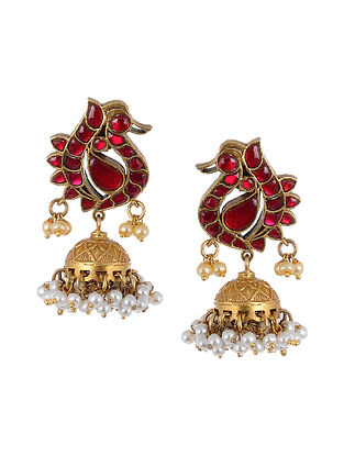 Maroon Gold Tone Silver Jhumki Earrings with Pearls