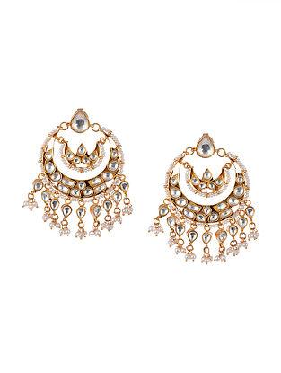 Gold Tone Kundan Silver Chaandbali Earrings with Pearls