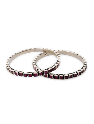 Maroon Tribal Silver Bangles (Size: 2/5) (Set of 2)