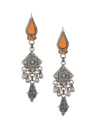 Orange Glass Tribal Silver Earrings with Floral Motif