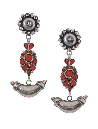 Red Glass Tribal Silver Earrings with Floral Design