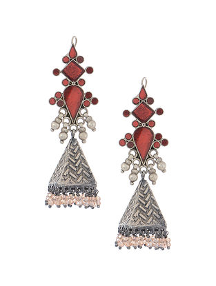 Red Glass Tribal Silver Jhumkis