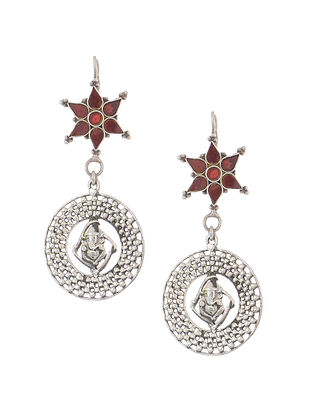 Red Glass Tribal Silver Earrings with Lord Ganesha Design