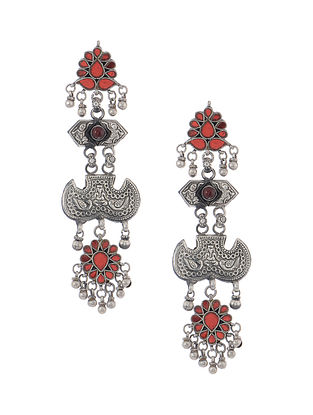 Red Glass Tribal Silver Earrings with Peacock Motif