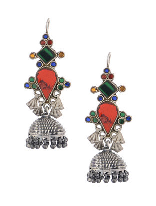 Multicolored Glass Tribal Silver Jhumkis