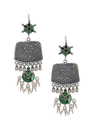 Green Glass Tribal Silver Earrings with Floral Motif