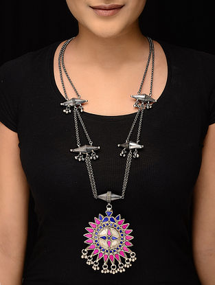 Pink-Blue Glass Tribal Silver Necklace