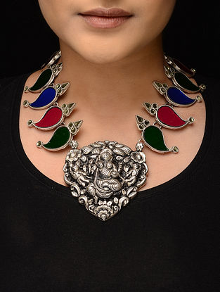 Multicolored Glass Tribal Silver Necklace with Deity Motif