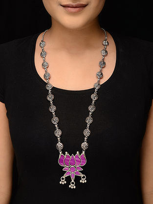Purple Glass Tribal Silver Necklace with Lotus Design