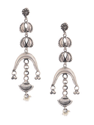 Tribal Silver Earrings with Floral Deisgn