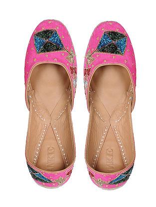 Pink Hand-Embroidered Cotton Silk Juttis