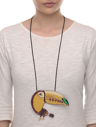 Toucan Yellow-Brown Embroidered Fabric Necklace with Bead Work