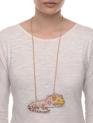 Iguana Pink-Yellow Embroidered Fabric Necklace with Bead Work