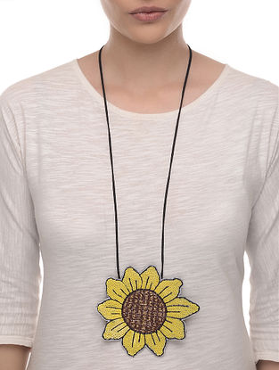 Sunshine Yellow-Brown Embroidered Fabric Necklace with Bead Work