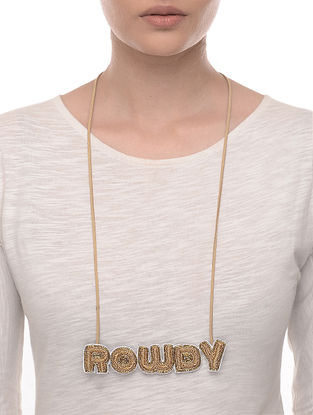 Rowdy Beige-Brown Embroidered Fabric Necklace with Bead Work