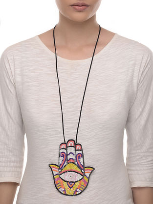 The Hand Multicolored Embellished Fabric Necklace with Bead Work