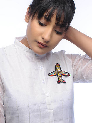 Fly Multicolored Embroidered Fabric Brooch with Bead Work