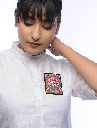 Kamal Multicolored Embroidered Fabric Brooch with Bead Work