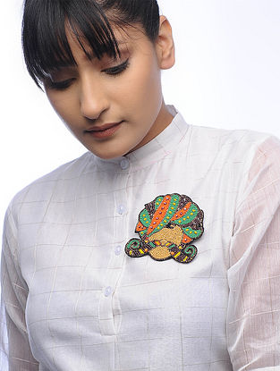 Moochad Multicolored Embroidered Fabric Brooch with Bead Work