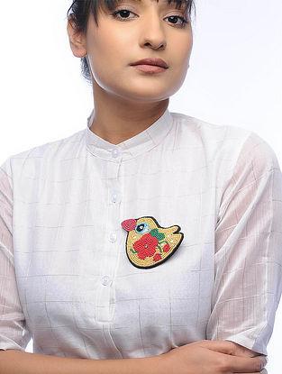 Chidiya Yellow Embroidered Fabric Brooch with Bead Work