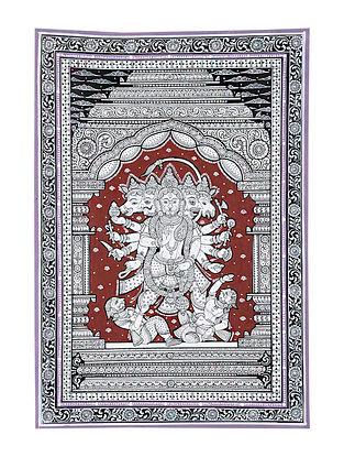 Panchmukhi Hanuman Pattachitra Artwork on Canvas (18.7in x 13in)