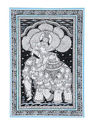 Kandarp Haathi Pattachitra Artwork on Canvas (18.5in x 12.6in)
