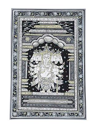 Panchmukhi Ganesha Pattachitra Artwork on Canvas (18.7in x 13in)