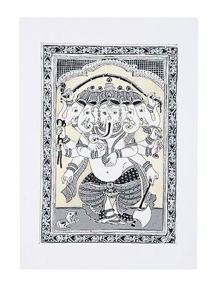 Panchmukhi Ganesha Pattachitra Artwork on Canvas (20in x 14in)