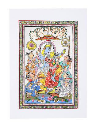 Radha Krishna Rasleela Pattachitra Artwork on Canvas (19.6in x 14in)