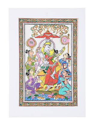 Radha Krishna Rasleela Pattachitra Artwork on Canvas (20in x 14in)