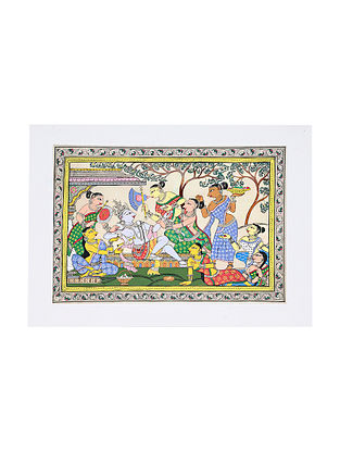 Summer Season Pattachitra Artwork on Canvas (14.7in x 19.5in)