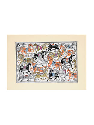 Horse Pattachitra Artwork on Canvas (13.5in x 19in)