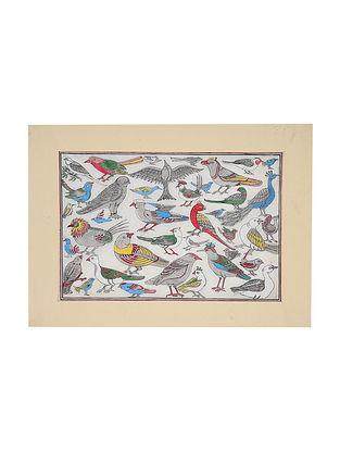 Birds Pattachitra Artwork on Canvas (13.5in x 19in)