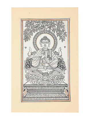 Buddha Pattachitra Artwork on Canvas (15in x 9.5in)
