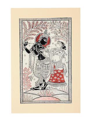 Radha Krishna Pattachitra Artwork on Canvas (14.6in x 9.5in)