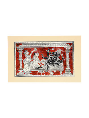 Ganesha with Riddhi Siddhi Pattachitra Artwork on Canvas (9.5in x 14.7in)