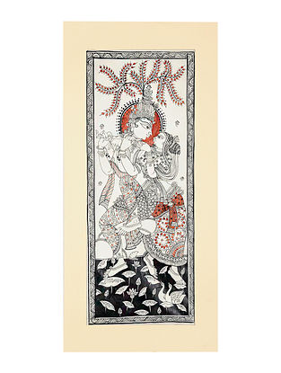 Radha Krishna Pattachitra Artwork on Canvas (20in x 9.2in)