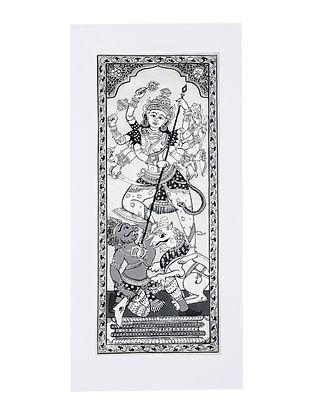 Durga Pattachitra Artwork on Canvas (20in x 9.2in)