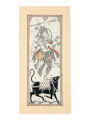 Shiva Pattachitra Artwork on Canvas (20in x 9.5in)