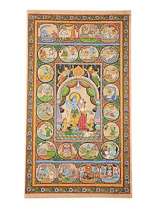 Krishna Story on Pattachitra Artwork on Tussar Silk (42.5in x 24in)