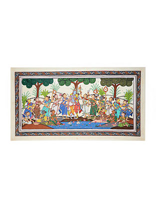 Rasleela Pattachitra Artwork on Canvas (23in x 43in)
