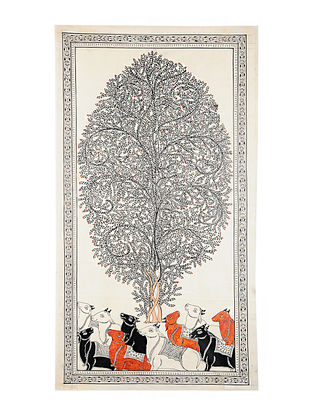 Tree with Cows Pattachitra Artwork on Canvas (43in x 23.6in)