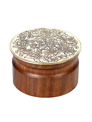 Padmanabh Sheesham Wood Tumbler with Copper Lid (Dia:3.8in, H:2in)