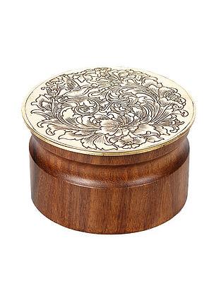 Padmanabh Sheesham Wood Tumbler with Copper Lid (Dia:3.8in, H:2in)