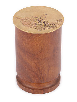 Padmanabh Sheesham Wood Jar with Copper Lid (Dia:3in, H:4.6in)