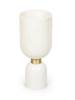Morbi White-Golden Brass and Marble Vase (L:3.7in, W:3.7in, H:5.3in)