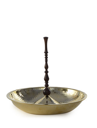 Suri Handcrafted Brass and Wood Platter-L (L:10in, W:6.4in, H:10in)
